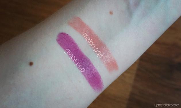 Clinique Pop Lipstick + Primer in Grape Pop and Melon Pop - Swatches