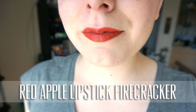 Red Apple Lipstick Firecracker Lip Swatch | uptherollercoaster.com