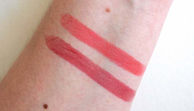 essence Longwearing Lipstick in 01 Coral Calling and 04 On the Catwalk! swatches | uptherollercoaster.com